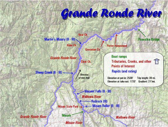 Grand Ronde Oregon Map.Grande Ronde River Rafting Maps Oregon River Experience