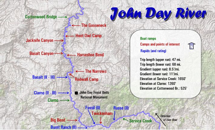 John Day River Rafting Maps | Oregon River Experience