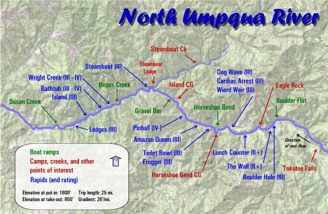 North Umpqua River Rafting Maps | Oregon River Experience