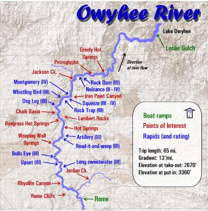 Owyhee Canyonlands Map Owyhee River Rafting Maps | Oregon River Experience