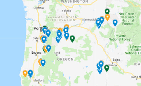 Oregon River Rafting Put-in and Take-out Map